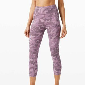 """Lululemon Time To Sweat Crop 23"""" Incognito Camo Pink Taupe Multi Legging Size 6"""